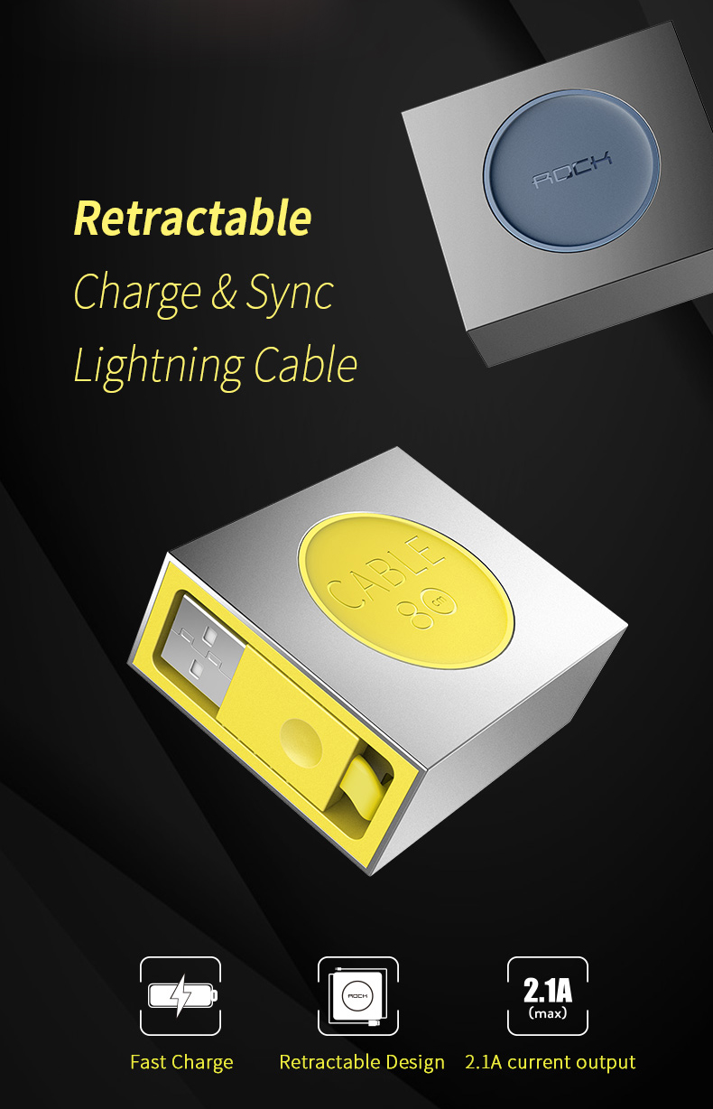 Кабель Rock Retractable Lightning синего цвета